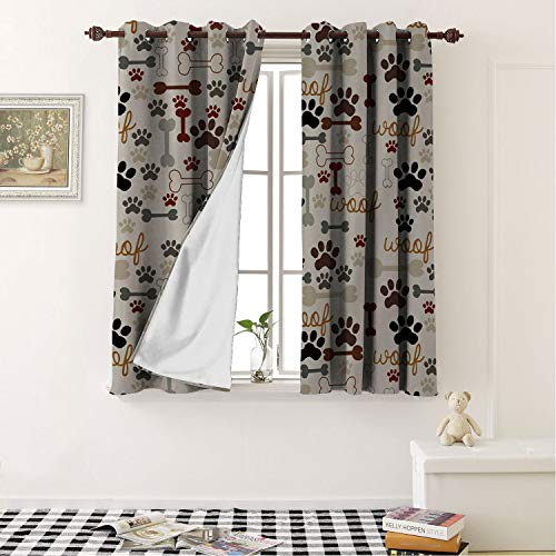 All Season Thermal Insulated Cartoon Dog Footpr ts Bones for Living Room Window Treatment Drapes 55 by 39 in