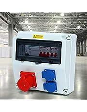 Väggfördelare, CEE 16A blå 230 V 2 röda CEE-uttag 400 V FI skyddsbrytare strömfördelare vattentät byggfördelare våtrum fördelare för byggarbetsplatser