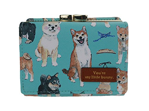 The Orient Bee Women's Mini Leather Wallet Kiss Lock Closure Bow Dog Green by The Orient Bee Wallet