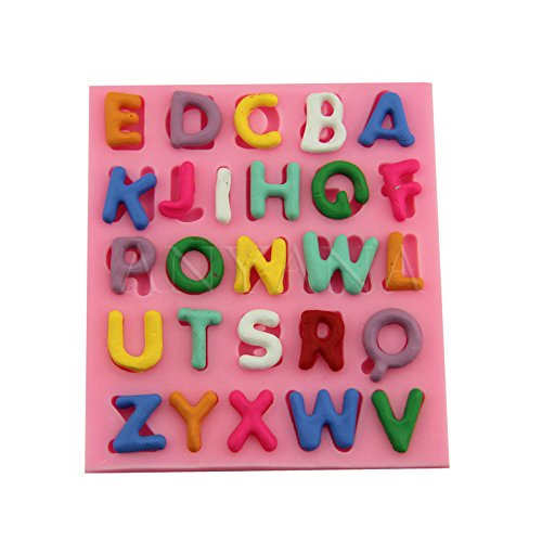 Anyana mini A-Z 26 English Baking Molds letters Silicone Fondant molds capital alphabet Cake Decorating Tools Gumpaste cupcake topper decorations party resin Clay Chocolate Candy Molds Non stick -