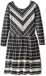 fiveloaves twofish Girl's Isa Skye Dress (Little Kids/Big Kids) Grey Stripe Dress 16 Big Kids
