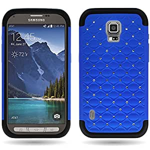 CoverON® Hybrid Dual Layer Diamond Case for Samsung Galaxy S 5 S V Active - Blue Hard Plastic and Black Soft Silicone