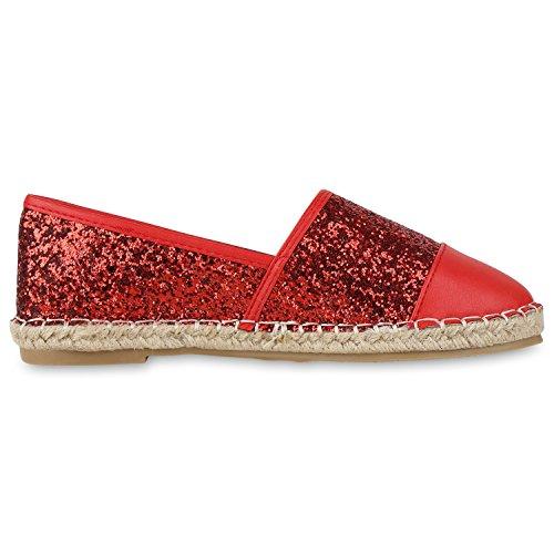 napoli-fashion Damen Espadrilles Bast Glitzer Slippers Blumen Prints Flats  Strass Metallic Schuhe Stoffschuhe Nieten ... 1c956f5ac4