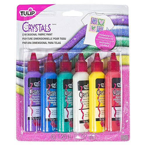 Craft County Non-Toxic, Permanent, Assorted 3D Fabric Paint - 6 Bottles (1 Ounce Each) (Crystals)