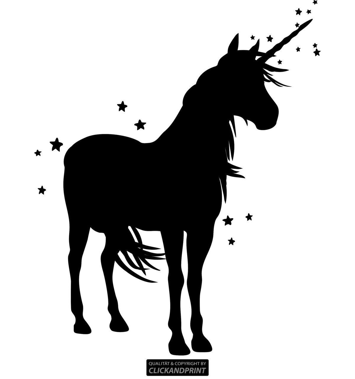 CLICKANDPRINT Aufkleber » Einhorn mit Sternen, 120x96,9cm, Schwarz • Wandtattoo   Wandaufkleber   Wandsticker   Wanddeko   Vinyl