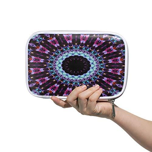 (Kaleidoscope Mandala Large Pencil Case Multifunction Leather Cosmetic Brushes Bag Storage Zip)