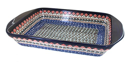 Polish-Pottery-Blue-Horizon-Extra-Large-Rectangular-Baker