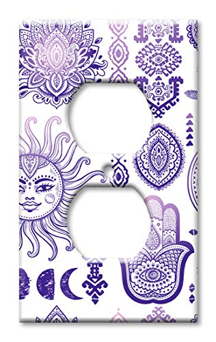 Purple Solid Faceplate Cover - Art Plates Duplex Outlet Cover Wall Plate - Purple Sun and Moon Toss