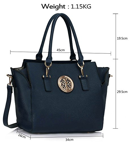 Design Shoulder Style Luxury New Tote Leather Navy 1 New Womens Designer Ladies Handbags Large Look Bags Faux qgnx41