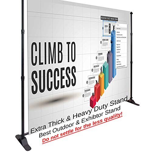 10ft x 8ft Trade Shows, Exhibitions, Conferences Exhibitor Booth Backdrop Stand / Adjustable Graphic Telescopic Step & Repeat Logo Wall Adjustable Backdrop Banner Stand w/ Carrying Bag ()