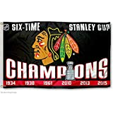 Chicago Blackhawks 6 Time Stanley Cup Champions Flag