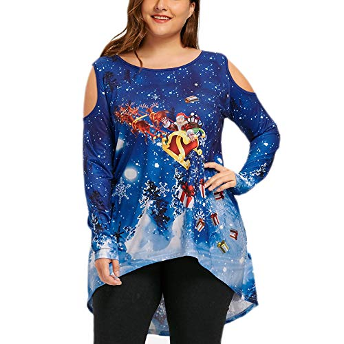 iHPH7 Women Merry Christmas Cold Shoulder Santa Claus Print T-Shirt Tops Blouse ()