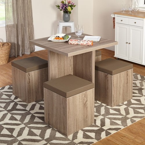 5-Piece Baxter Dining Set with Storage Ottoman Seat has taupe vinyl padded
