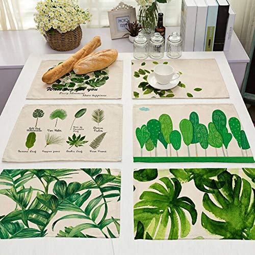 Agordo Tropical Plant Leaves Print Cotton Linen Placemat Table Mat Dinner Mat Coasters