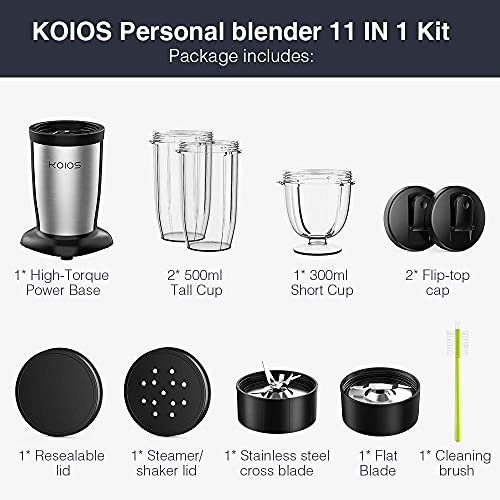 KOIOS 850W Personal Blender for Shakes and Smoothies, 11 Pieces Single Bullet Smoothie Blenders for Kitchen, Small Coffee Grinder with 2x17oz and 10oz Travel Bottles and Lids, BPA Free (Black)