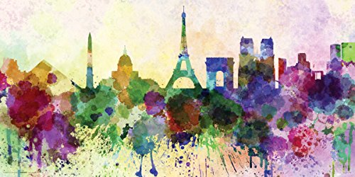 Paris in Watercolors Modern Travel Art Decorative Print (Unframed 12x24 Poster) - Paris Watercolor