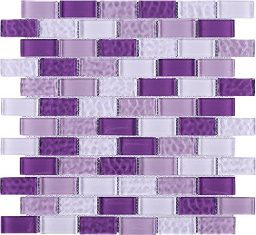 TRCEG-03 1x2 Brick Purple Glass Mosaic Tile Subway Tile Sheet-Kitchen and Bath backsplash Wall Tile