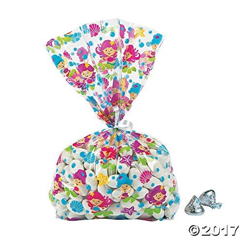 Mermaid Design Cellophane Bags - 12 ct