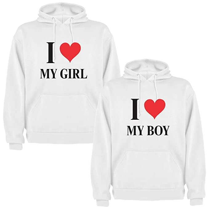 Pack de 2 Sudaderas Blancas para Parejas, I Love My Boy y I Love My