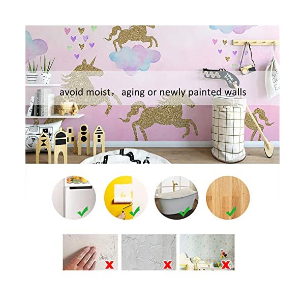 Unicorn Wall Decal, 2 Sheets Unicorn Wall Decor Stickers Removable Vinyl Decals Gifts for Girls Bedroom Kids Rooms Baby Nursery Home 9
