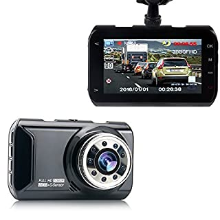 "Silipower 3"" LCD Dash Cam, Full HD 1080P, 160 Wide Angle Car Dashboard Camera, Vehicle Videos Recorder with Night Vision, G-Sensor, WDR, Loop Recording"