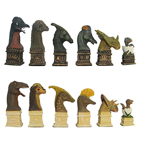 Dinosaur Theme Hand Painted Polystone Chess Pieces ()