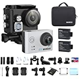WiMiUS Action Camera 4K HD Sports Camcorder 40M Underwater Cameras WiFi Waterproof Cam 170° Wide Angle Sony Sensor 2 LCD Screen 2 Rechargeable Batteries and Accessories Kits, L2, Silver