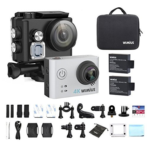 WiMiUS Sport Action Camera 4K Ultra HD Camcorder 12MP WiFi Waterproof Underwater Cameras 40M 170 Degree Wide Angle 2 Inch LCD Screen 2.4G Remote Control 2 Rechargeable Batteries and Accessories Kits, L2, Silver