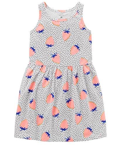 Carter's Girls' 2T-8, Lightweight Cotton Jersey Tank Dresses (Fresh Strawberries, 3T)