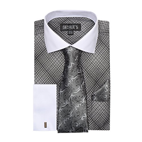 Mens Check Dress Shirt,Contrast Collar,Tie & Hanky-Black XL (17-17 1/2) 34/35 (Barrel Cuff Dress Shirt)