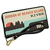 Wallet Clutch USA Rivers Jordan of Beaver Island River - Michigan with Removable Wristlet Strap Neonblond