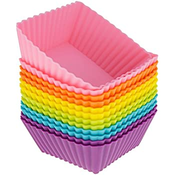 Freshware CB-306SC 12-Pack Silicone Square Reusable Cupcake and Muffin Baking Cup, Six Vibrant Colors