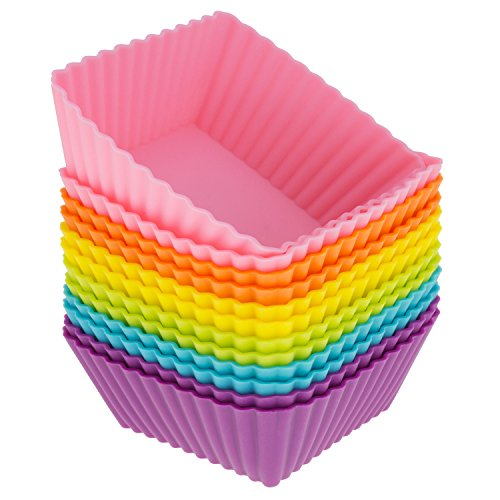 Square Silicone Baking Cups - Freshware CB-306SC 12-Pack Silicone Square Reusable Cupcake and Muffin Baking Cup, Six Vibrant Colors
