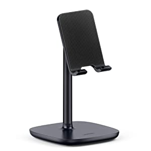 UGREEN Cell Phone Stand Desk Holder Compatible for iPhone 11 Pro Max XS XR 8 Plus 6 7, Samsung Galaxy S10 Plus S9 S8 Note 9 8 S7 S6, Google Pixel 3 XL, LG V40 V30 G7 G6 Smartphone, Adjustable (Black)