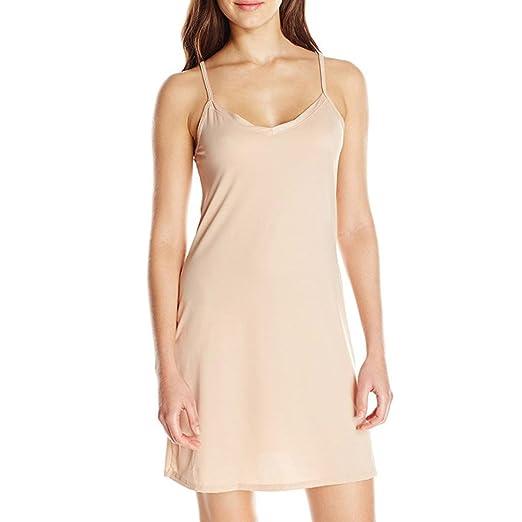 ebda0aa027 Anxinke Women Solid Spaghetti Strap Sleepwear Chemise Nightgown Above The Knee  Dress S-2XL (
