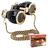 HQRP 4 x 30 Opera Glasses Binocular Antique Style Black pearl with Gold