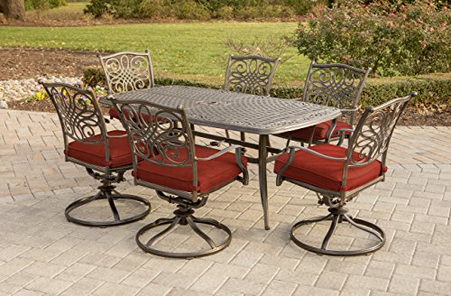 Hanover TRADDN7PCSW6-RED Traditions 7 Piece Dining Set with Cast Top Table, 72
