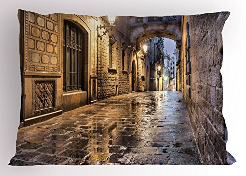 Lunarable City Pillow Sham, Narrow Street Gothic Design Architecture Carrer del Bisbe Barcelona Spain Europe, Decorative Standard Queen Size Printed Pillowcase, 30 X 20 Inches, Tan Pale Brown by Lunarable