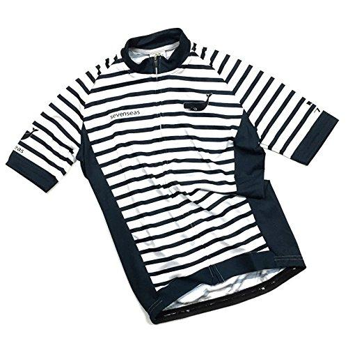 早熟落とし穴ふさわしいセブンイタリア Seven Seas Stripe Jersey ホワイト/ネイビー XL(78S-SSS-JY-WNXL)