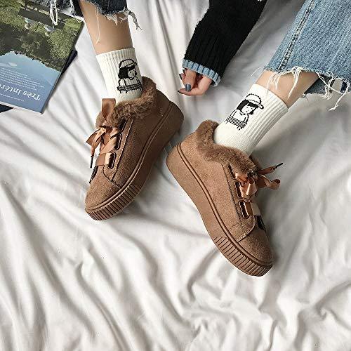 Femme Shoes Marron Neige Chaudes with bottes Coton Flat Décontractées De Bottes Mode Femmes botte Lacets Pour En Wild La À Femme Boots qCRBB4