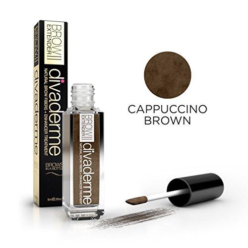 divaderme Brow Extender II, 100% Natural, Eyebrow Fibers, Enhancer Treatment, Cappuccino Brown Brow Extender