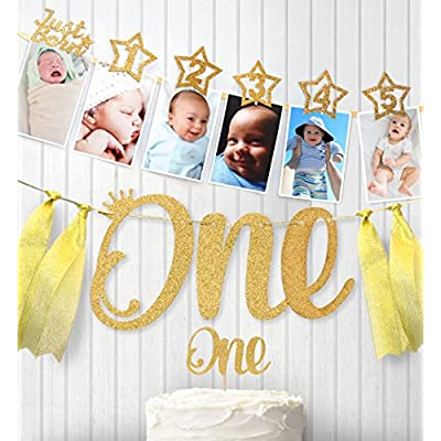 1st Birthday Gold Glitter Decorations - Handmade Monthly Milestone Photo Banner for Newborn to 12 Months, Cake Topper and ONE Banner. Great for 1 Year Old Celebration, Party Supplies: Toys & Games
