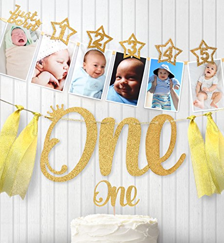 (1st Birthday Gold Glitter Decorations - Handmade Monthly Milestone Photo banner for Newborn to 12 months, Cake Topper and ONE Banner. Great for 1 Year old Celebration, Party)