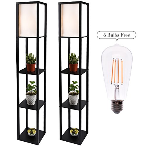 Shelf Floor Lamp Black, 2 Pcs Standing Lamps with White Shade and Solid Wood Frame, with Dimmable LED Edison Light Bulbs by ELECWISH