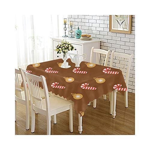 Epinki Mantel Poliester Manteles Caramelo de Navidad Marron Rojo para la Decoracion de la Mesa de Comedor de Cocina Tamano 140x220cm