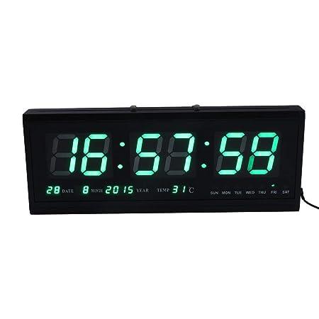 Yosoo Gran Verde Digital LED Calendario Reloj con Día y Fecha-Shelf o Reloj de Pared: Amazon.es: Hogar