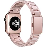 Simpeak Replacement iWatch Band 38mm Women Men Stailees Steel Metal Band Strap for Apple Watch Series 3, Series 2, Series 1, 38mm/Rose Gold