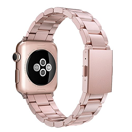Simpeak Apple Watch 3 Band 42mm, Adjustment Band Strap for Apple Watch 42 mm Series 1 Series 2 Series 3 with Stainless Steel Metal Clasp - Rose Gold for Women Girl (Heavy Metal Tool Band)