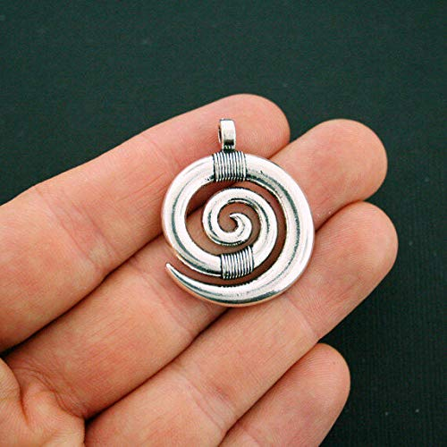 (Great Selection 2 Spiral Charms Antique Silver Tone Large Size - SC5712 Build Your)