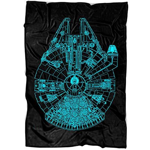 Arkstore Millennium Falcon Soft Fleece Throw Blanket, Star Wars Movie Fleece Luxury Blanket (Medium Blanket (60